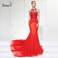 8d17a26f2cc Dressv бисероплетение кристалл русалка вечернее платье с длинным красный  суд поезд класса люкс труба женщины вечерние