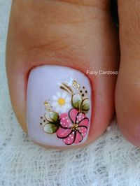 TOO cute flower nail art for toes! Pretty Toe Nails, Cute Toe Nails, Pedicure Nail Art, Toe Nail Art, Hair And Nails, My Nails, Toe Nail Designs, Flower Pedicure Designs, Beautiful Nail Designs