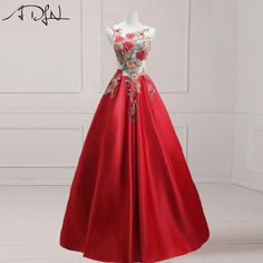 ADLN Scoop Sleeveless Red Evening Dresses with Floral Embroidery Long Prom Party Gown Vestidos de Festa Abendkleider 2017