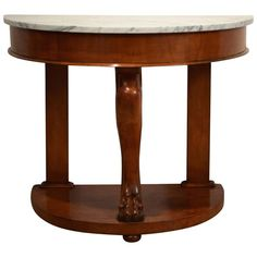Late 19th Century Empire Style Marble Top and Alder Console Table | From a unique collection of antique and modern console tables at https://www.1stdibs.com/furniture/tables/console-tables/