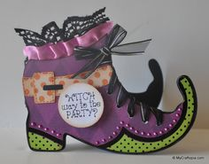 Witch Boot shaped card  Leslie Foley