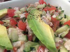 Ceviche Sinaloa. ( camarón, pepino y pescado)
