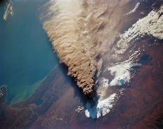 Kliuchevskoy Volcano ash plume seen from the Space Shuttle Endeavor in Oct 1994.
