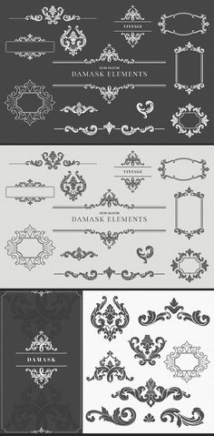 Collection of High Quality Damask Elements. Damask Decor, Fabric Decor, Damask Tattoo, Damask Party, Gothic Pattern, Hand Tattoos For Women, Vinyl Decor, Poster Layout, Vintage Designs