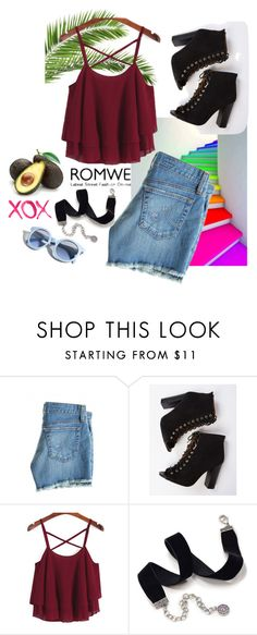 """""""ROMWE"""" by jenifer67890 ❤ liked on Polyvore featuring AG Adriano Goldschmied, Sweet Romance, GALA and Pinko"""
