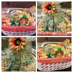 All the fixings for a Thanksgiving feast (except the turkey)! Gift basket donated to a local church for their basket drive.  Baskets are donated to needy families in the community.