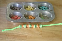 have the kids make cereal necklaces to snack on during hikes
