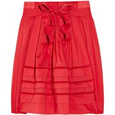 Sonia by Sonia Rykiel Pleated pointelle cotton skirt (5.965 RUB) ❤ liked on Polyvore featuring skirts, bottoms, saias, gonne, tomato red, knee length pleated skirt, sonia by sonia rykiel, cotton pleated skirt, red pleated skirt and red skirt