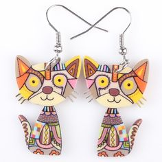 These Silly Cool Cat Earrings are a MUST HAVE for all Cat Lovers! Custom designed with high quality materials, so Spoil Yourself or give a pair away!! Material: Acrylic Metals Type: iron Color: variou