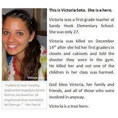 jessica cornelius @jesicacornelius  1st grade teacher who sacrificed her own life 4 her students by hiding them! #VictoriaSoto #SandyHook #PrayForNewtown http://twitpic.com/bmafh0