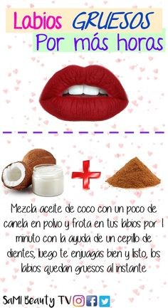 If you want to know more tips for thick lips with v .- Si quieres conocer más tips para unos labios gruesos y con volumen, visita el v… If you want to know more tips for thick lips with volume, visit the video. Healthy Nails, Healthy Skin, Natural Hair Mask, Natural Hair Styles, Natural Beauty, Beauty Secrets, Beauty Hacks, Beauty Tips, Beauty Care