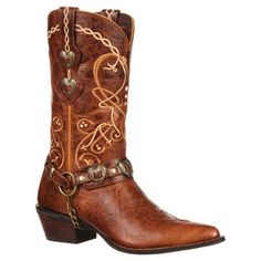 Durango Women's 11 Heartbreaker Concho Crush Embroidered Cowboy Boot - Brown 8
