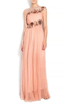 Silk salmon-blush wedding gown pleated dress with sequins application/ Wedding gown/ bohemian wedding dress/ beach wedding dress