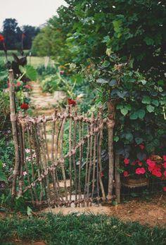 stayrustic: by stayrustic Potager Garden, Veg Garden, Rustic Gardens, Outdoor Gardens, Garden Gates And Fencing, Garden Entrance, Garden Whimsy, Garden Styles, Dream Garden