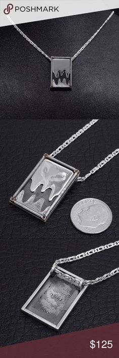 """Sterling Silver Pendant & Chain Chain Stamped """"925 Mex"""", 30 inches long. Pendant stamped """"Pyaree Sterling"""". Pyaree was the name of my brand when I was a designer.  This is not a stock photo. The image is of the actual article that is being sold  Sterling silver is an alloy of silver containing 92.5% by mass of silver and 7.5% by mass of other mThe sterling silver standard has a minimum millesimal fineness of 925.   All my jewelry is solid sterling silver. I do not plate.   Made in Mexico…"""