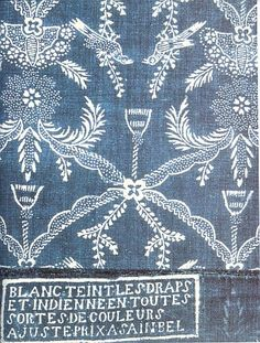 18th century linen resist-dyed print, France