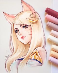 Bon Totalement gratuit league of legends ahri Concepts Anime Girl Drawings, Manga Drawing, Cute Drawings, Copic Marker Art, Copic Art, League Of Legends Characters, Lol League Of Legends, Desenhos League Of Legends, Arte Copic