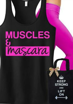 Very cute #Workout #Tank and #Tote! Featuring MUSCLES & MASCARA Tank and KEEP STRONG LIFT ON Tote. Great for working out. By NoBullWomanApparel, $24.99 on Etsy. Click here to buy https://www.etsy.com/listing/183813864/muscles-mascara-workout-tank-black-with?ref=shop_home_active_20