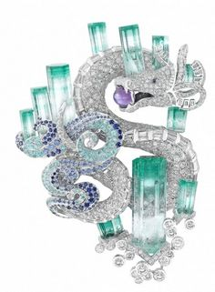 GABRIELLE'S AMAZING FANTASY CLOSET | Aquamarine and Diamond Pave Dragon