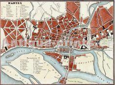Plan de la ville et des iles de Nantes, Monin,  1835