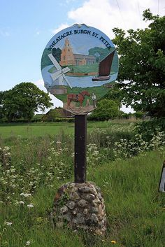 Burgh St Peter village sign, Norfolk by Brokentaco Pub Signs, Shop Signs, Nautical Signs, Great Yarmouth, English Village, Uk Photos, Street Lamp, Advertising Signs, English Countryside