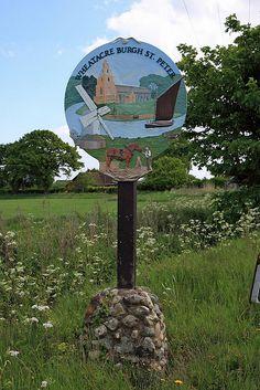 Burgh St Peter village sign,  Norfolk by Brokentaco, via Flickr
