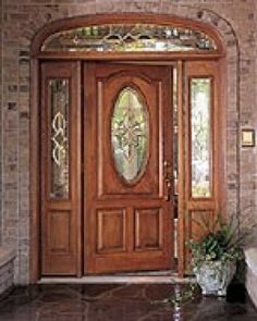 Exterior Doors With Sidelights, Wood Exterior Door, Exterior House Colors, Wood Front Doors, Painted Front Doors, Wooden Doors, Wooden Door Design, Front Door Design, Pella Doors
