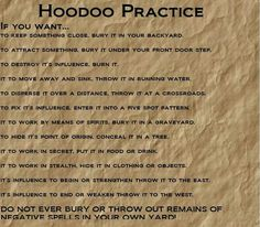 That last one, important safety tip.  PP: Hoodoo Practice --- interesting
