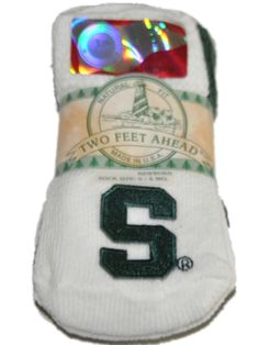 Michigan State Spartans Two Feet Ahead Infant Baby Newborn 3 Pair Socks Pack