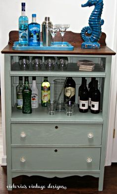 Victoria's Vintage Designs: Beach House Bar Cabinet ~ shared at DIY Sunday Showcase Link Party on VMG206 (Saturdays at 5pm CST). #diyshowcase