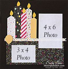 Sara Levin | theartfulinker.com Birthday candle tradiational 12 x 12 scrapbook page featuring It's My Party designer paper. Click for details.