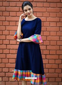 Fabric: Khadi Cotton Sleeves: Sleeves Are Included Size: (Bust) Up To 42 in (Free Size) Length: Up To 46 in Type: Semi-Stitched Fabric: Khadi Cotton Salwar Designs, Kurta Designs Women, Kurti Neck Designs, Dress Neck Designs, Blouse Designs, Simple Kurti Designs, Frock Design, Casual Frocks, Kurti Sleeves Design