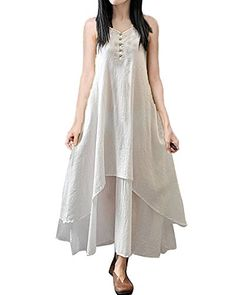 ZANZEA Women Sleeveless Button Up Cotton Linen Two Layer ALine Loose Long Dress Dress White XL -- Continue to the product at the image link.