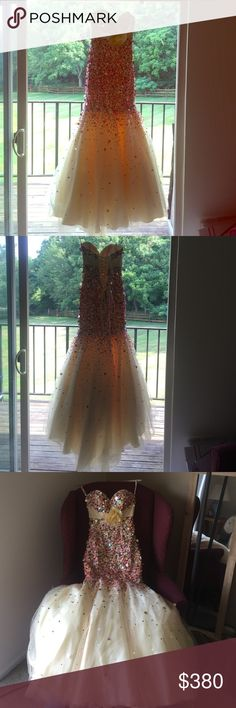 Tiffany Designs Sequin Mermaid Prom Dress Tiffany Designs sequin mermaid style prom dress. Bought at Peaches Boutique in Chicago in 2013. Worn once. Can ship with original cover. Corset back. Tulle underlay. Sequin body with a lace flower belt. Color: Champagne Size: 0 Style No: 16618 No flaws, in great condition!!! *also listed on Ⓜ️* **can always post more photos** Tiffany Designs Dresses Prom