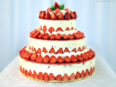 Fraisier Strawberry Wedding Cake - Recipe with images - Meilleur du Chef Strawberry Wedding Cakes, Wedding Strawberries, Strawberry Desserts, Köstliche Desserts, Strawberry Tart, Strawberry Filling, Strawberry Cupcakes, Strawberry Lemonade, Strawberry Shortcake