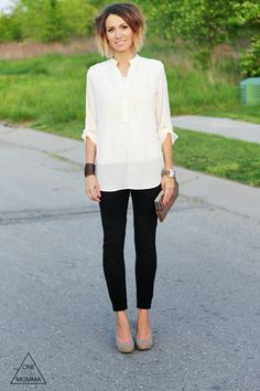 Ivory tunic blouse, black ponte pants, nude heels and clutch--boden ponte pants