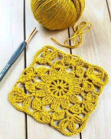 Tecendo Artes em Crochet: Square Amarelo Fofo