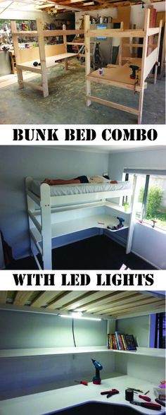 Bunk Bed Combo made at home from an idea on Pinterest.  Finished off with LED desk lamp under the loft bed part.