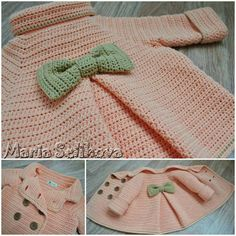 Discover thousands of images about rosana ferreyra Crochet Baby Cardigan, Crochet Coat, Baby Girl Crochet, Crochet Baby Clothes, Love Crochet, Crochet For Kids, Baby Patterns, Crochet Patterns, Baby Kind