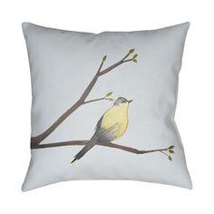 Jan Chickadee Polyester Throw Pillow