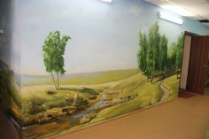 Landscape hand-painted wall mural #commercialmural #custommural Wall Murals, Commercial, Hand Painted, Landscape, Painting, Wallpaper Murals, Scenery, Murals, Wall Prints