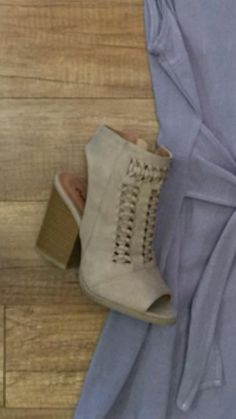 4cda36c5b37 Qupid Shoes Barnes Braided Peep Toe Booties in Taupe BARNES-208A-TAU ...