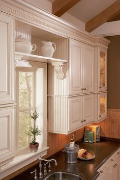 Shelving in kitchen, with bead board.