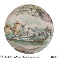 Baby Chicks Rowing Vintage Easter Plate