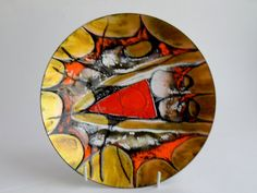 Pierrette Leclaire Enamel Bowl Canada Assiette by Enamel Dishes, Vintage Bowls, Canada, Plates And Bowls, Mid-century Modern, Jewlery, Objects, Art Deco, Mid Century