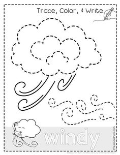 Weather Tracing Pages! Free Weather worksheets, tracing pages, weather charts, and more! Everything you need to plan a preschool theme for learning about the weather. Weather Activities Preschool, Weather Kindergarten, Teaching Weather, Kindergarten Lesson Plans, Preschool Themes, Preschool Printables, Kindergarten Worksheets, Preschool Seasons, Kindergarten Pictures