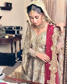 Image may contain: one or more people and people standing Pakistani Bridal Wear, Pakistani Wedding Dresses, Wedding Dresses For Girls, Girls Dresses, Bridal Looks, Bridal Style, Bridal Outfits, Bridal Dresses, Sajal Ali Wedding
