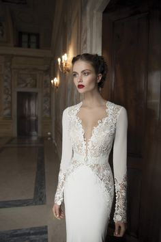Berta Bridal Gowns | Glamorous deep V neck with lace edging.