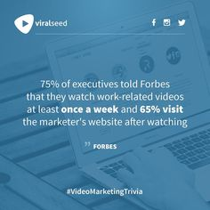 """executives told Forbes that they watch work-related videos at least once a week and visit the marketer's website after watching"""" - Forbes Inbound Marketing, Content Marketing, Digital Marketing, Trivia, Seo, At Least, Social Media, Website, Watch"""