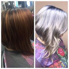 TRANSFORMATION: Titanium In Action. I'm SO glad I did it naturally, or my hair would have all fallen out from bleaching and processing.  But it apparently worked for this client, and looks far better than before!